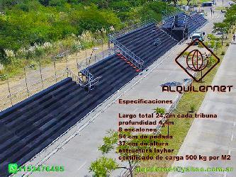 Alquiler de tribunas 6,6m x 22m x 4,5 m de altura Alquiler de tribunas